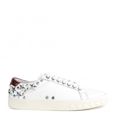 Dazed White and Red Leather Star Studded Trainer