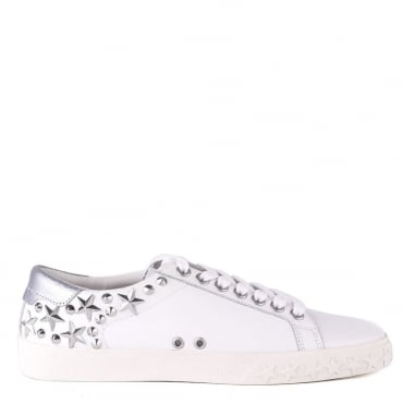 Dazed White Leather Star Studded Trainer