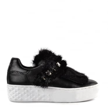 Djin Black Leather and Fur Trainer