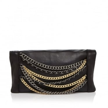 Domino Clutch Bag Black Leather with Gold & Silver Chains