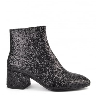 Dragon Black Glitter Ankle Boot