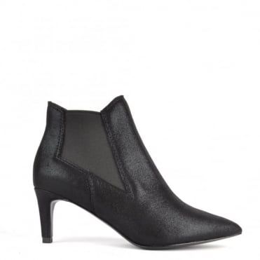 Drastic Black Metallic Suede Heeled Boot