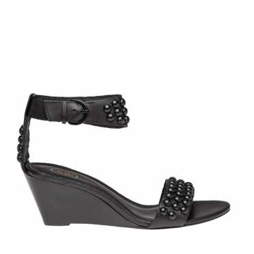 Dune Black Studded Wedge Sandal