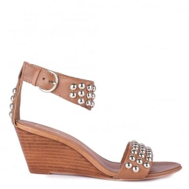 Dune Camel Studded Wedge Sandal