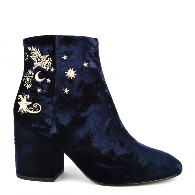 Ash Footwear Elixir Midnight Blue Velvet Embroidered Boot
