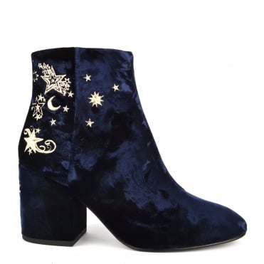 Elixir Midnight Blue Velvet Embroidered Boot