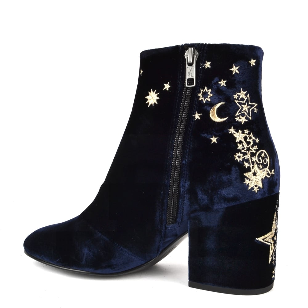 530c6961bc2b9 Ash Elixir Midnight Blue Velvet Embroidered Boot