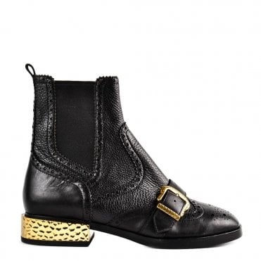 acda538d641 Face Black Leather Buckle Boot