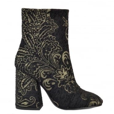 Fedora Black and Gold Fabric Heeled Boot