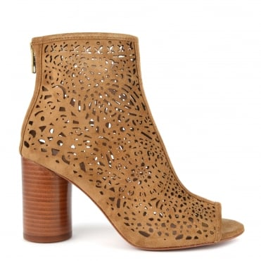 Flirt Santal Suede Laser Cut Peep Toe Boot