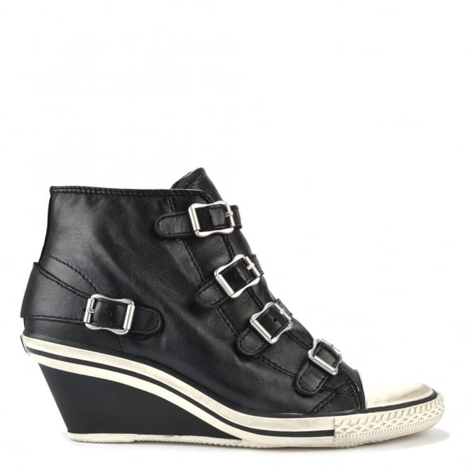 Ash Footwear Genial Low Wedge Black leather Trainer