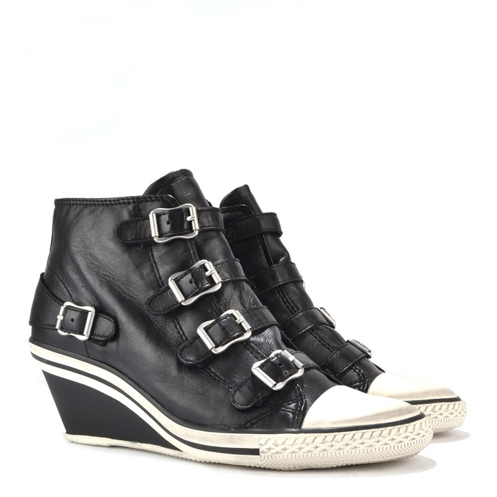 fd864fb7e8e Ash Footwear Genial Low Wedge Black Leather Trainer - Buy Online Now