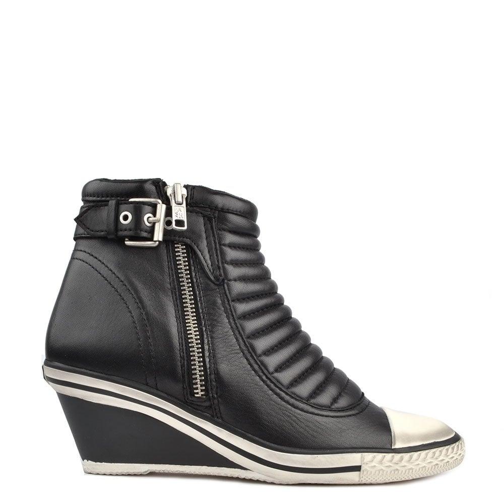 b26541965bfe Ash Footwear Genius Black Leather Wedge Trainer - Women from Brand ...