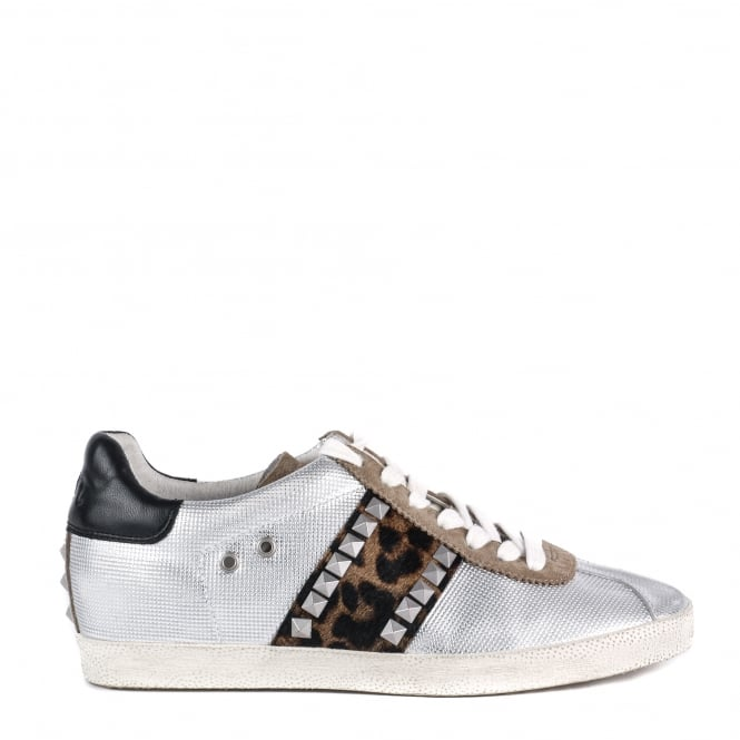 Ash Footwear Ginger Silver Leather and Leopard Print Pony Hair Trainer