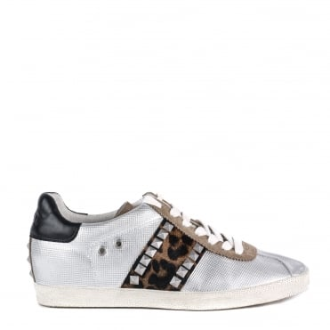 Ginger Silver Leather and Leopard Print Pony Hair Trainer