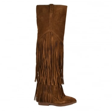 Gipsy Ter Russet Suede Fringe Thigh High Boot