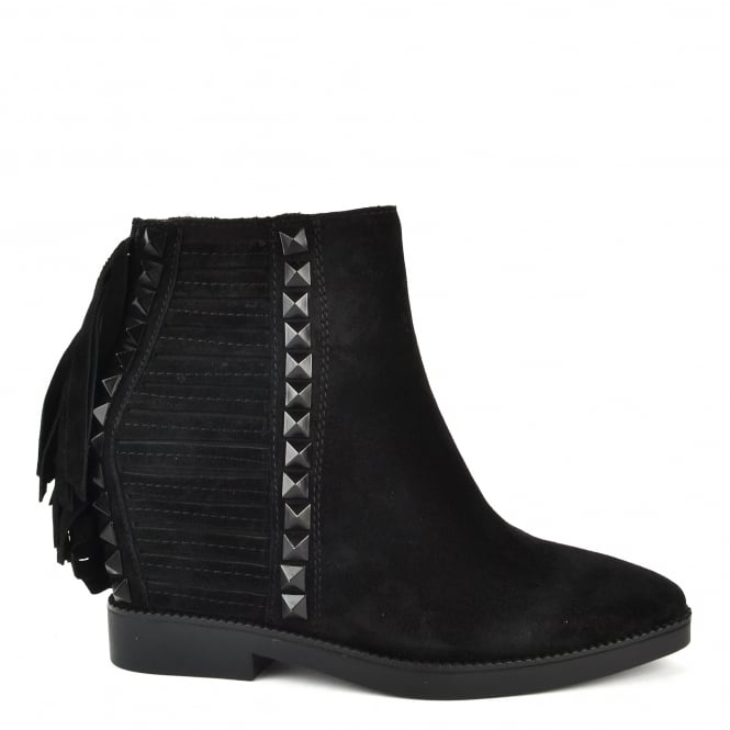 Ash Footwear Glory Black Suede Fringe and Studded Wedge Boot
