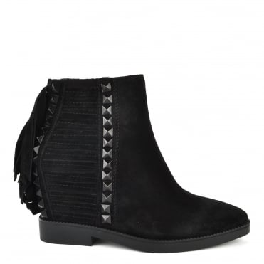 Glory Black Suede Fringe and Studded Wedge Boot