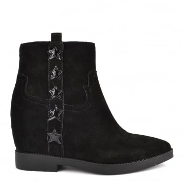 Goldie Black Suede Wedge Boot