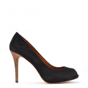Great Bis Black Suede Peep Toe Heel