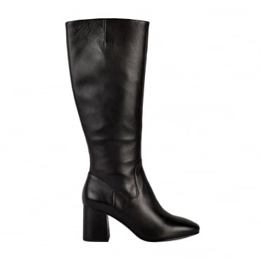Hashley Black Leather Knee High Heeled Boot