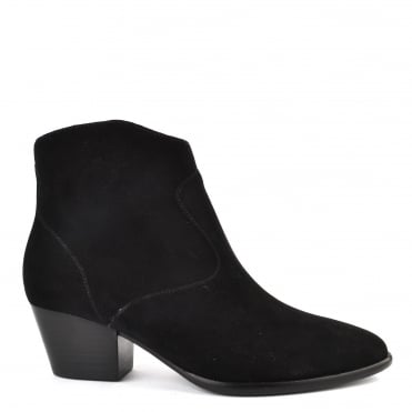 Heidi Bis Black Suede Ankle Boot
