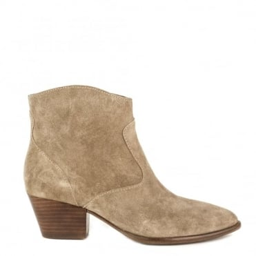 Heidi Bis Cocco 'Beige' Suede Ankle Boot
