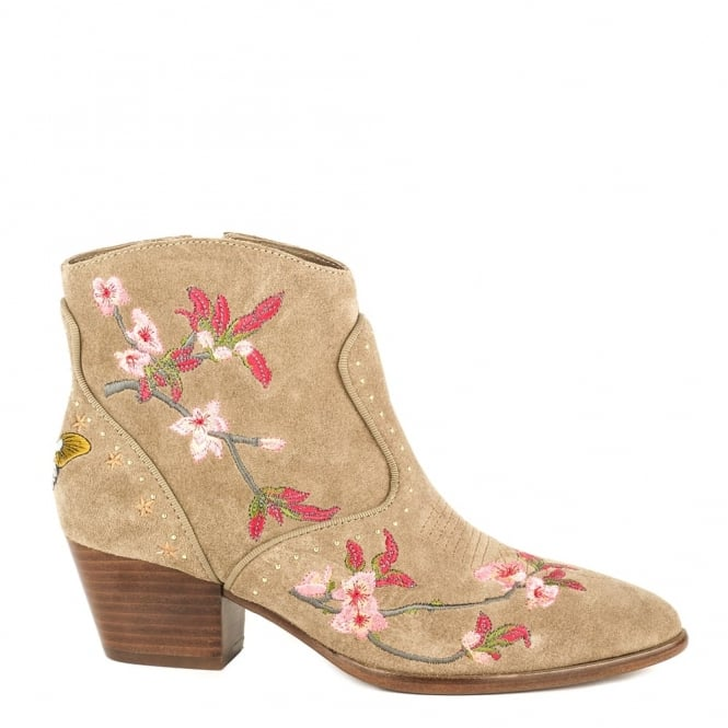 Ash Footwear Heidi Embroidered Cocco Suede Ankle Boot