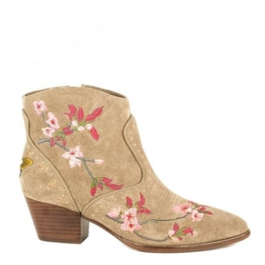Heidi Embroidered Cocco Suede Ankle Boot