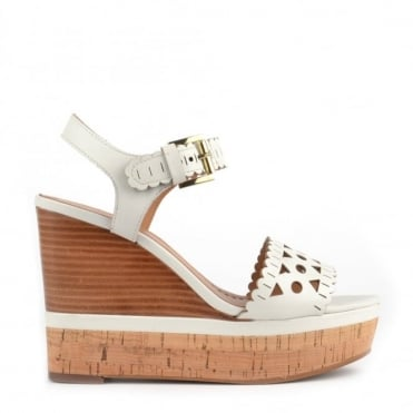 Hiro White Leather Wedge Sandal