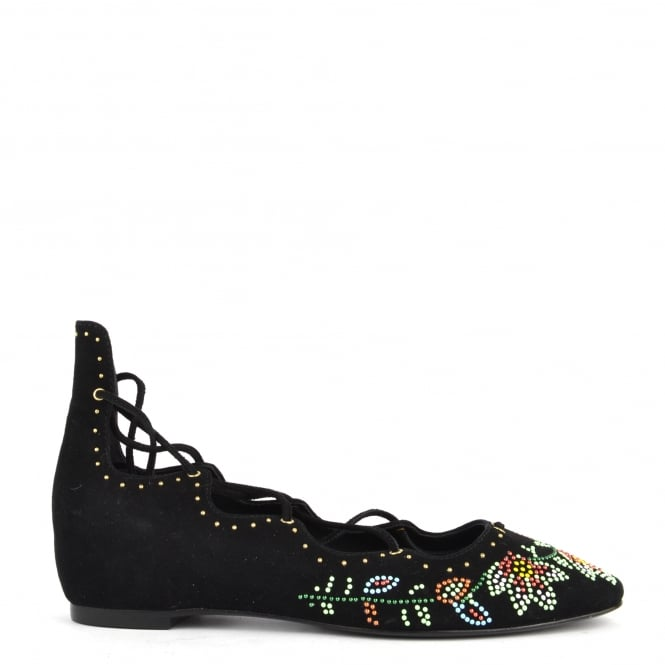 Ash Footwear Ibiza Black Suede Lace Up Beaded Flat