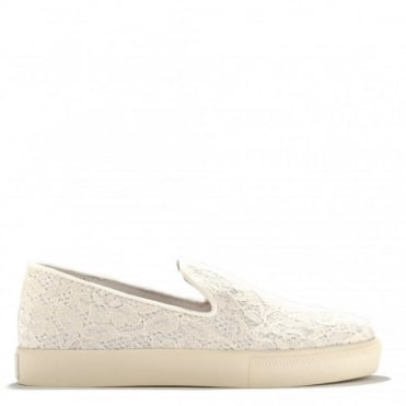 Illusion Off White Lace Slip On Trainer