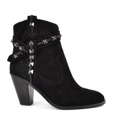 Ilona Black Suede Ankle Boot