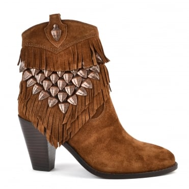 Iman Russet Suede Fringe Ankle Boot