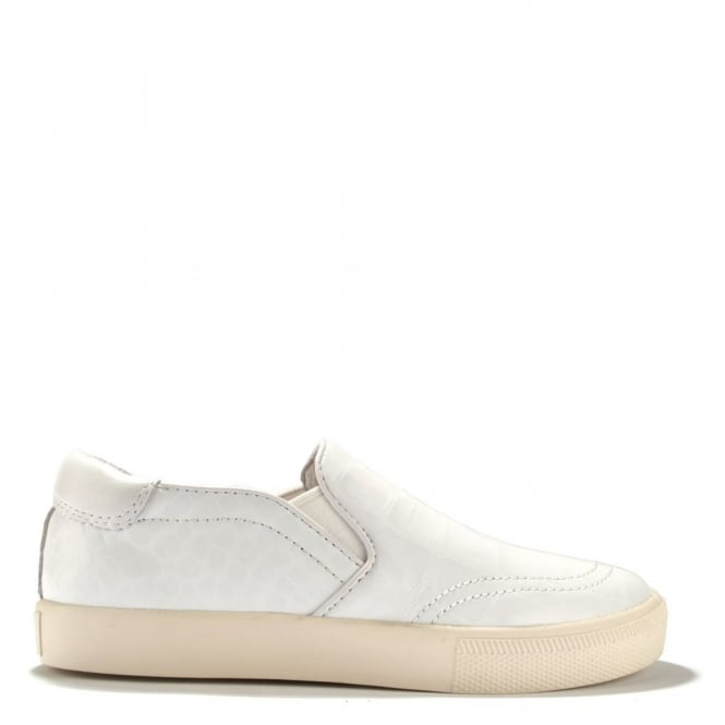 Ash Footwear Impuls White Croc Leather Slip On Trainer