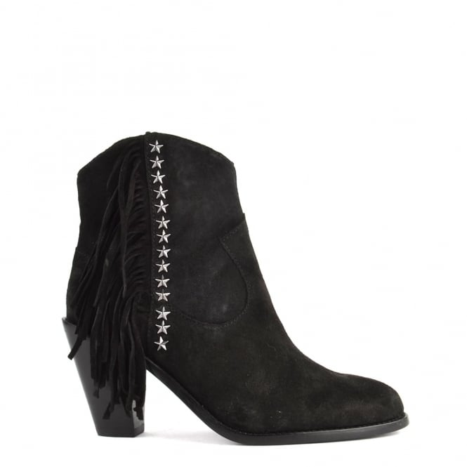 Ash Footwear Indy Black Suede Fringe Ankle Boot