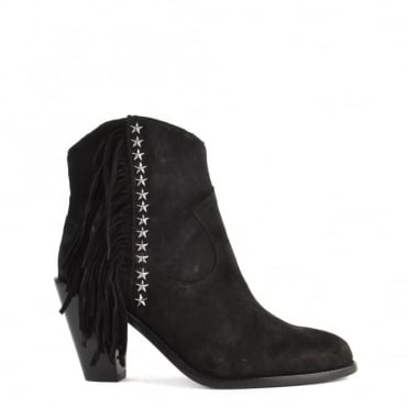 Indy Black Suede Fringe Ankle Boot