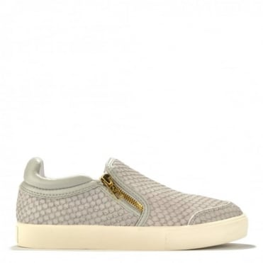 Intense Grey Embossed Python Slip On Trainer