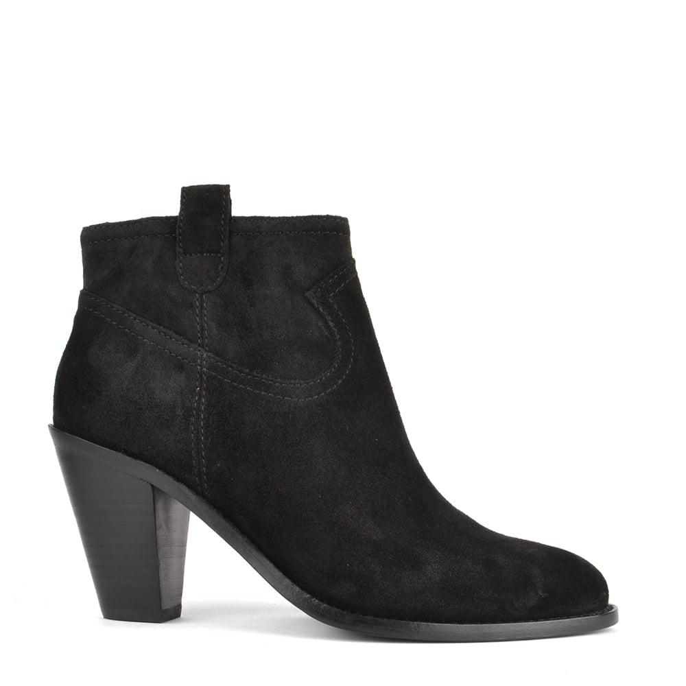 6588f78d824ec Ash Footwear Ivana Black Suede Black Zip Ankle Boot