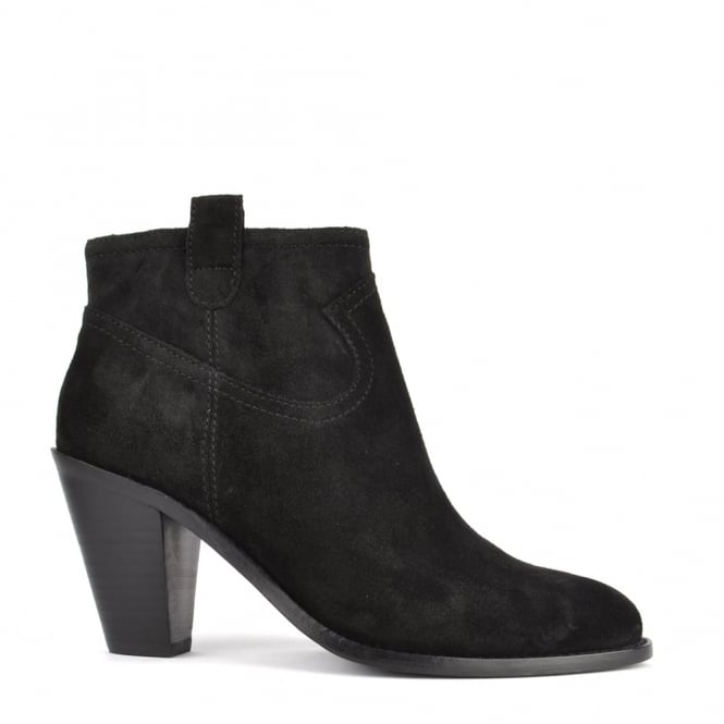 Ash Footwear Ivana Black Suede Black Zip Ankle Boot