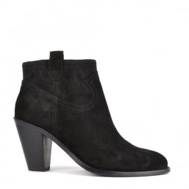 Ivana Black Suede Black Zip Ankle Boot