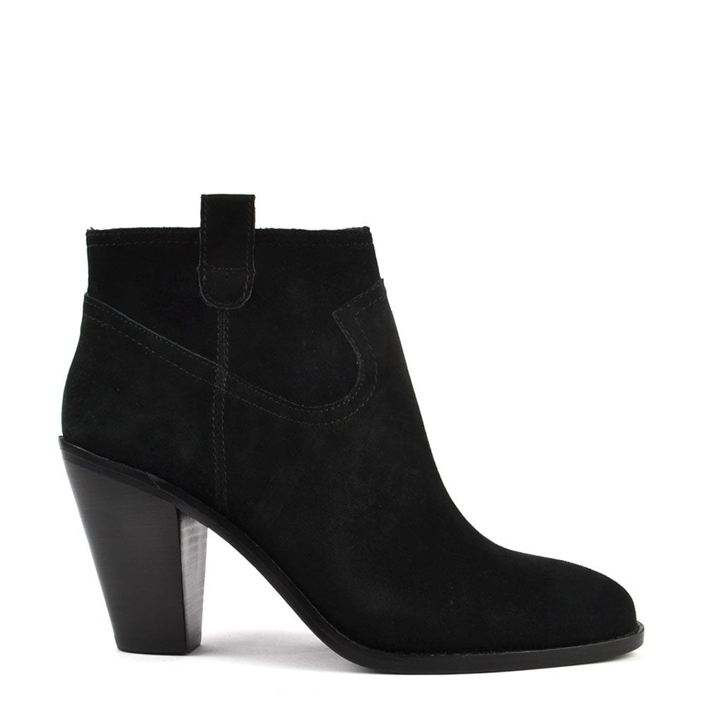 Ivana Black Suede Silver Zip Ankle Boot