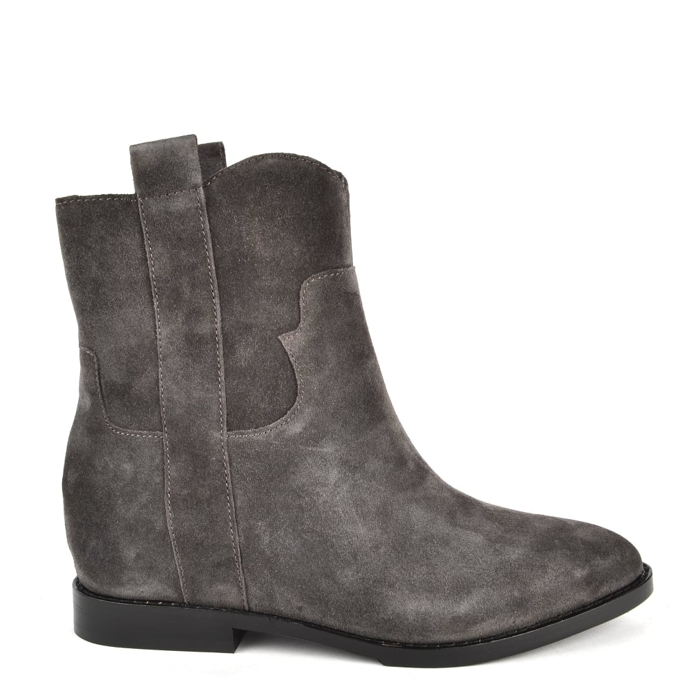 ash bistro grey suede wedge ankle boot