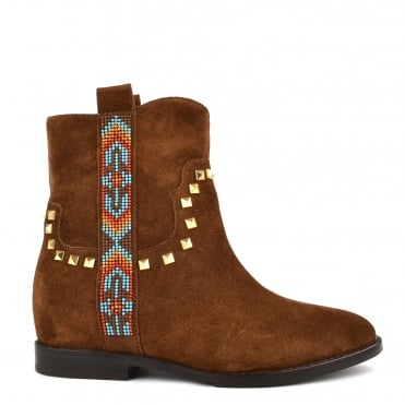 Janice Russet Suede Studded Boot