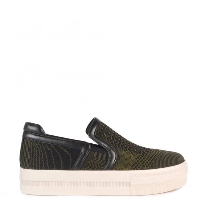 Ash Footwear Jeday Army and Black Slip On Trainer