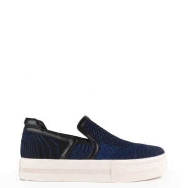 Jeday Ocean Blue and Black Slip On Trainer
