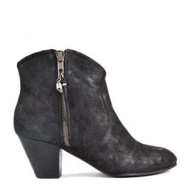 Jess Black Suede Ankle Boot