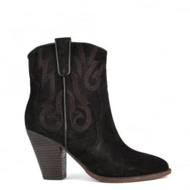 Joe Black Suede Embroidered Ankle Boot