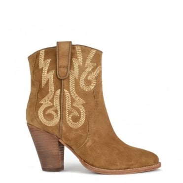 Joe Wilde 'Camel' Suede Embroidered Ankle Boot
