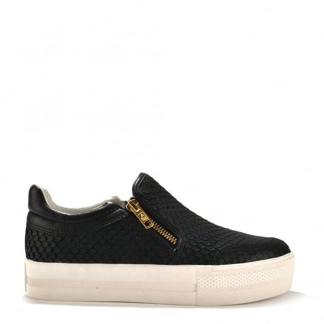 Ash Footwear Jordy Black Python Effect Print Slip On Trainer